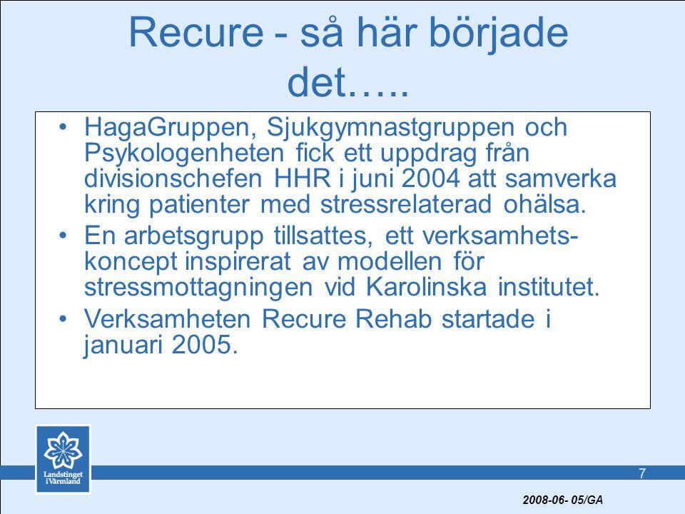 8 Nuvarande rehabiliteringskoncept - Recure •Utredning/bedömning/initiering av behandlingsprocess •Rehabiliteringsgrupp under sex veckor •Uppföljning individuellt eller i grupp med fokus på arbetsåtergång 2008-06- 05/GA