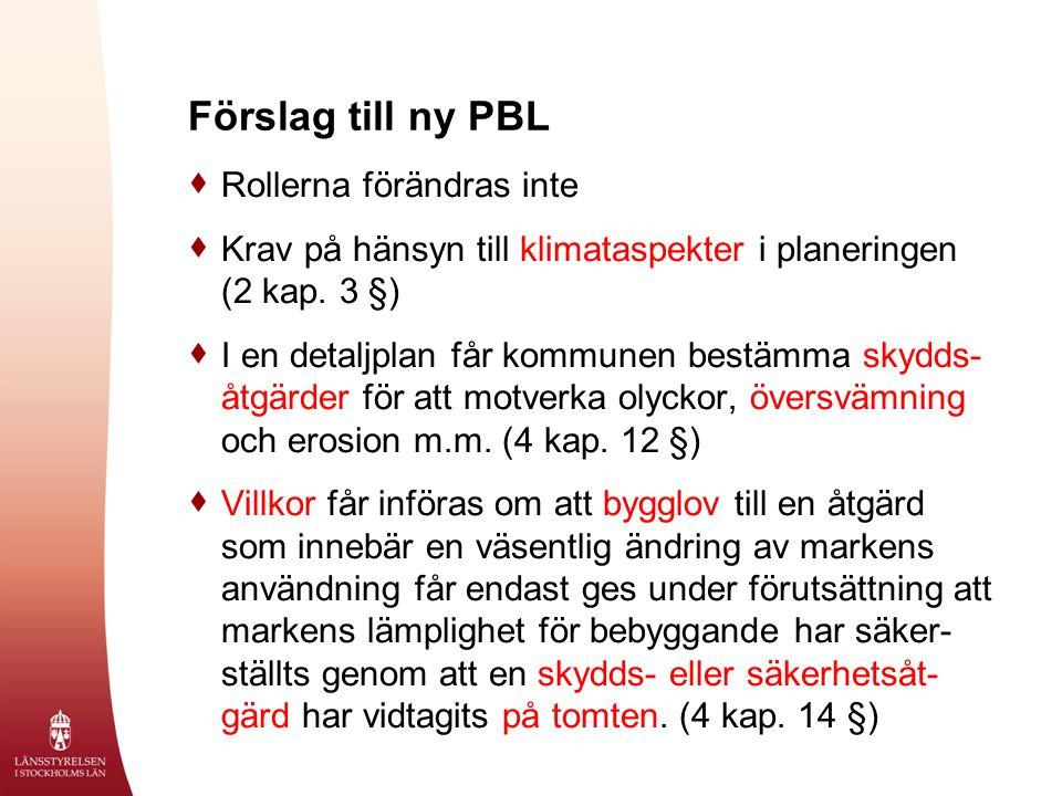 Förslag till ny PBL  Rollerna förändras inte  Krav på hänsyn till klimataspekter i planeringen (2 kap.