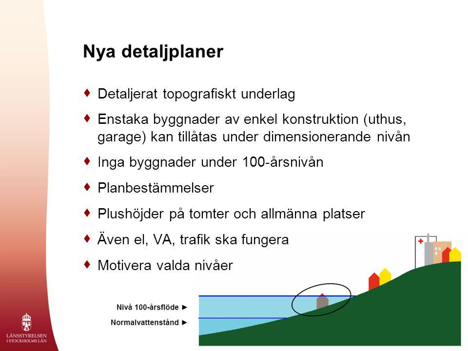 Exempel på planbestämmelse  Bebyggelse ska utföras på sådant sätt att denna inte skadas eller på annat sätt påverkas negativt av högvatten upp till nivån +2,3 meter över nollplanet räknat i höjdsystemet RH00.
