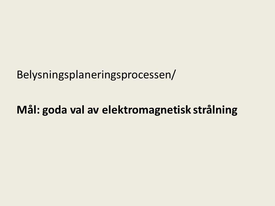 Belysningsplaneringsprocessen/ Mål: goda val av elektromagnetisk strålning