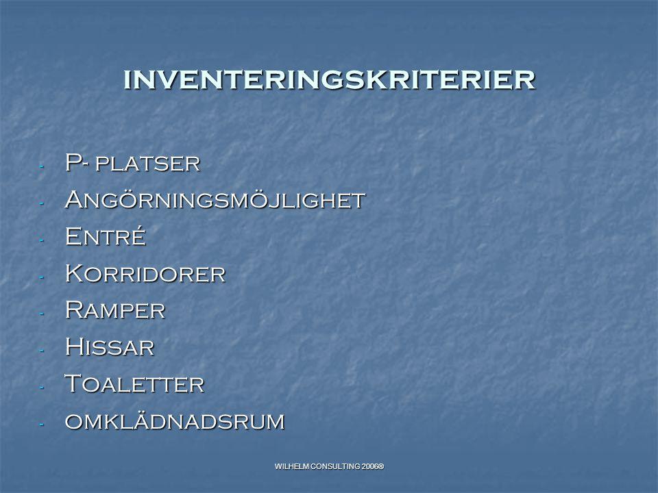 WILHELM CONSULTING 2006® inventeringskriterier - P- platser - Angörningsmöjlighet - Entré - Korridorer - Ramper - Hissar - Toaletter - omklädnadsrum