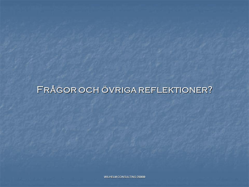 WILHELM CONSULTING 2006® Frågor och övriga reflektioner?
