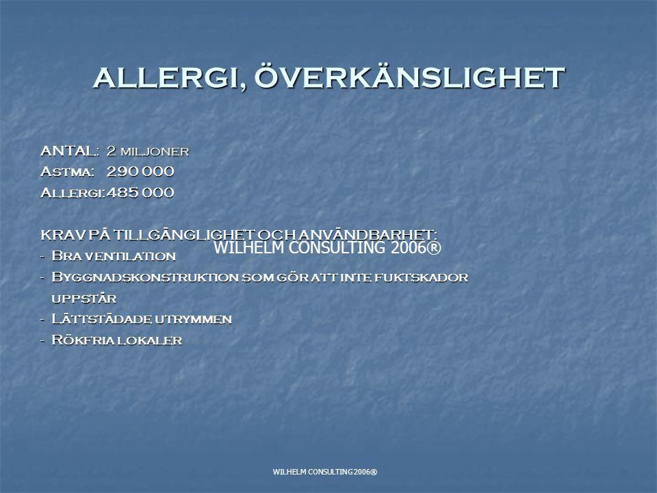 WILHELM CONSULTING 2006® ALLERGI, ÖVERKÄNSLIGHET ANTAL: 2 miljoner Astma:290 000 Allergi:485 000 KRAV PÅ TILLGÄNGLIGHET OCH ANVÄNDBARHET: - Bra ventil