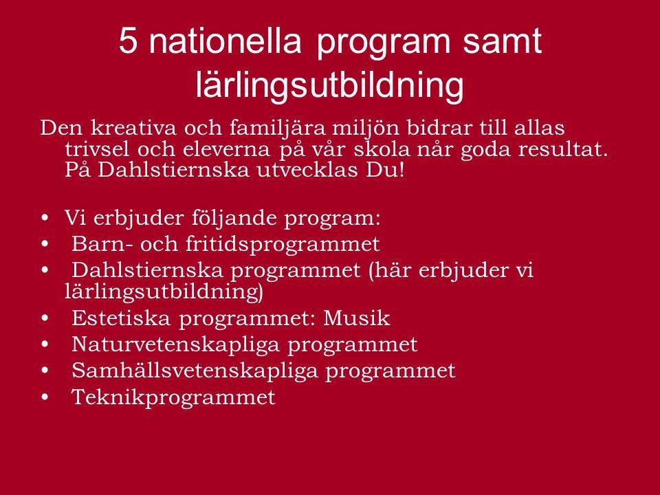 5 nationella program samt lärlingsutbildning Den kreativa och familjära miljön bidrar till allas trivsel och eleverna på vår skola når goda resultat.