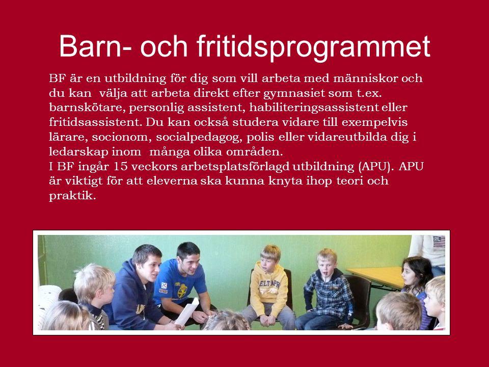 Barn- och fritidsprogrammet BF är en utbildning för dig som vill arbeta med människor och du kan välja att arbeta direkt efter gymnasiet som t.ex.