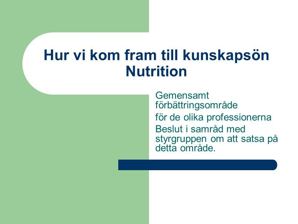 Syfte  Höja medvetandet hos all omsorgspersonal när det gäller kost och nutritionsfrågor i syfte att förbättra livskvalitén för vårdtagarna.