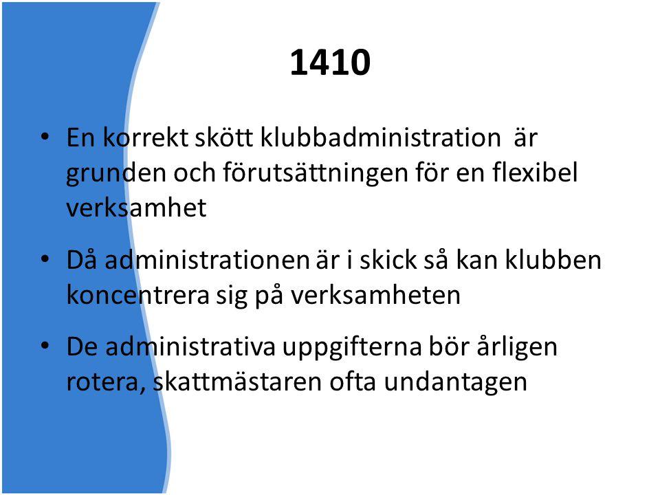 1410 • En korrekt skött klubbadministration är grunden och förutsättningen för en flexibel verksamhet • Då administrationen är i skick så kan klubben
