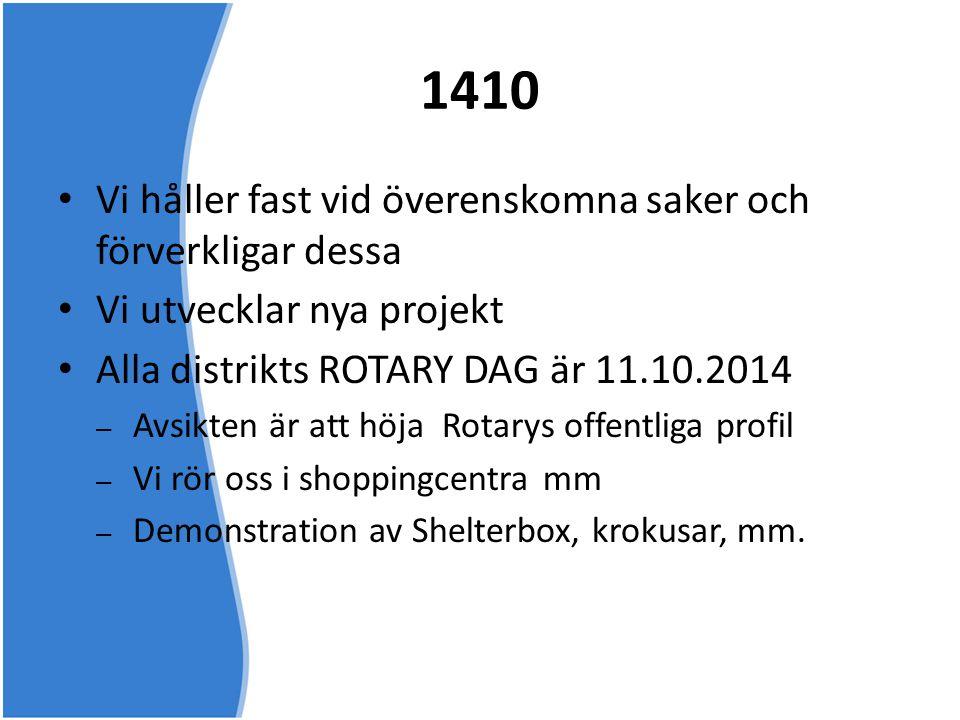 1410 • Vi håller fast vid överenskomna saker och förverkligar dessa • Vi utvecklar nya projekt • Alla distrikts ROTARY DAG är 11.10.2014 – Avsikten är