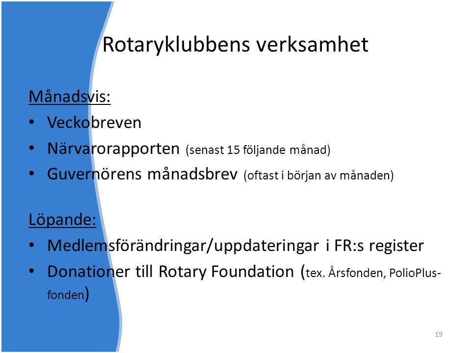 Rotaryklubbens verksamhet Månadsvis: • Veckobreven • Närvarorapporten (senast 15 följande månad) • Guvernörens månadsbrev (oftast i början av månaden)
