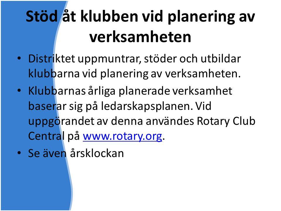 Stöd åt klubben vid planering av verksamheten • Distriktet uppmuntrar, stöder och utbildar klubbarna vid planering av verksamheten. • Klubbarnas årlig