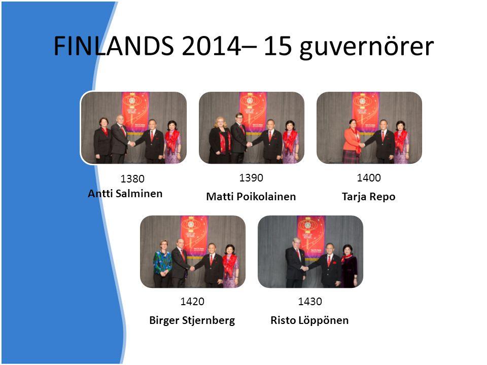 1390 Matti Poikolainen 1400 Tarja Repo 1420 Birger Stjernberg 1430 Risto Löppönen 1380 Antti Salminen FINLANDS 2014– 15 guvernörer