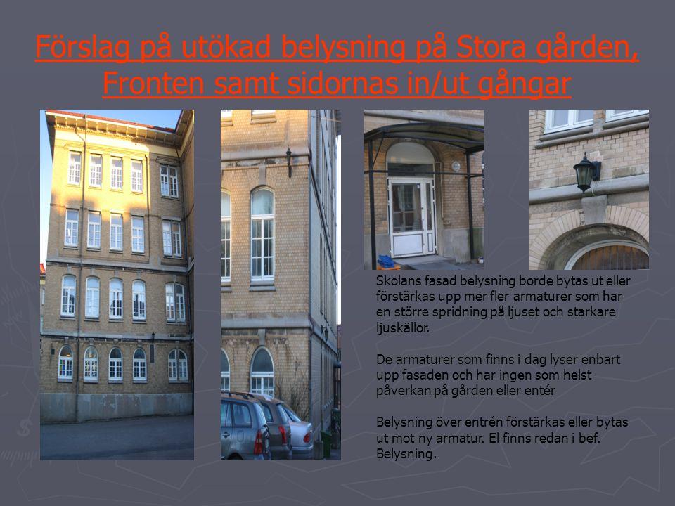 Förslag på utökad belysning på Stora gården, Fronten samt sidornas in/ut gångar Skolans fasad belysning borde bytas ut eller förstärkas upp mer fler a