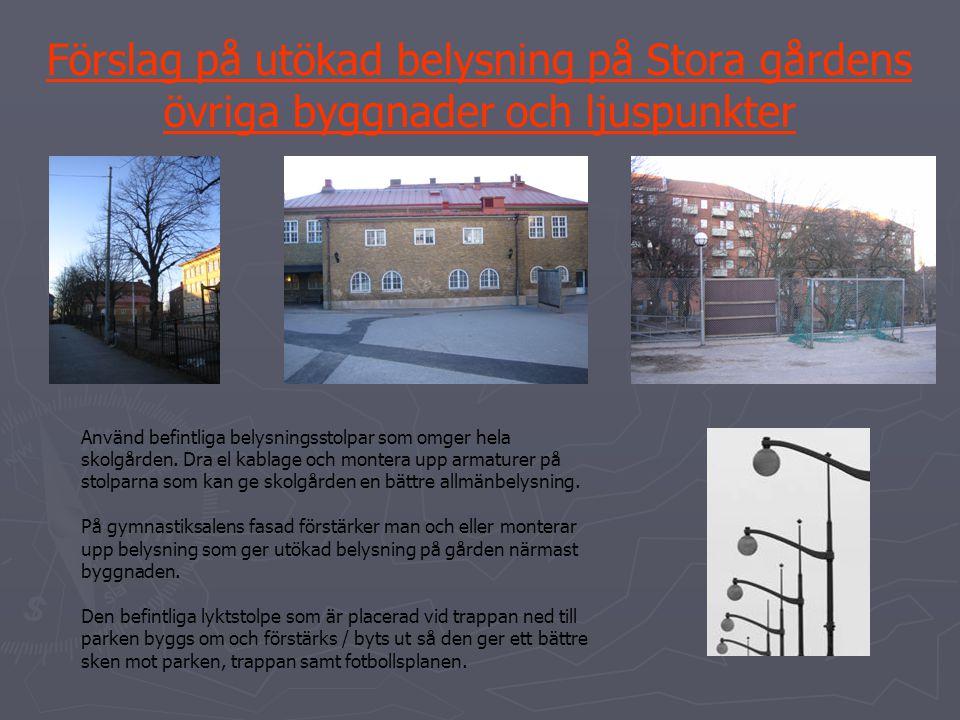 Förslag på utökad belysning på Stora gårdens övriga byggnader och ljuspunkter Använd befintliga belysningsstolpar som omger hela skolgården. Dra el ka
