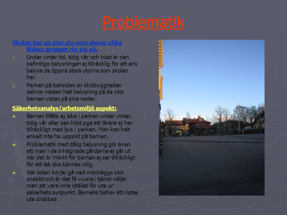 Problematik Skolan har en stor yta som elever olika ålders grupper rör sig på. 1. 1. Under vinter tid, tidig vår och höst är den befintliga belysninge