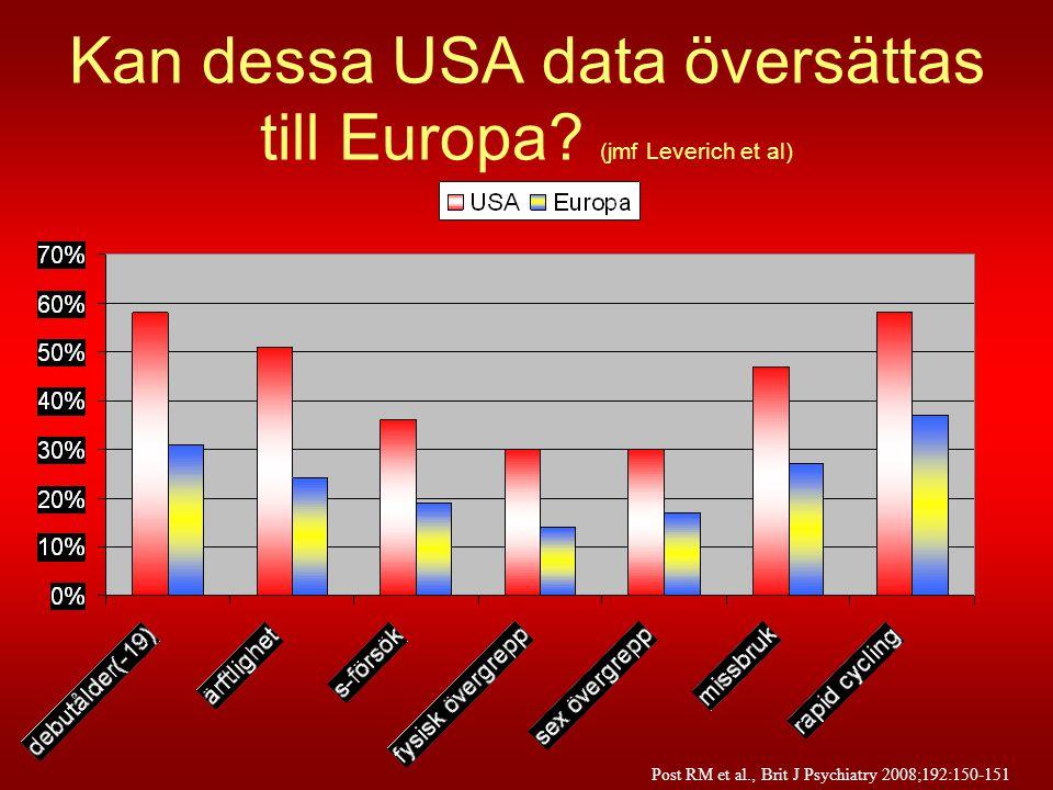 Kan dessa USA data översättas till Europa? (jmf Leverich et al) Post RM et al., Brit J Psychiatry 2008;192:150-151