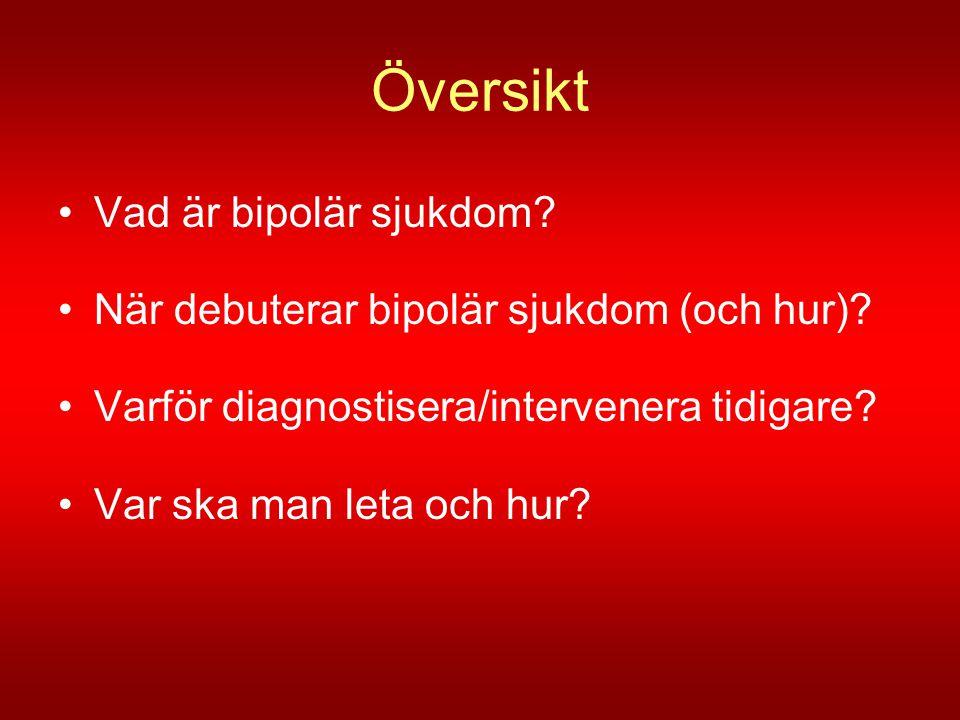 Översikt •Vad är bipolär sjukdom? •När debuterar bipolär sjukdom (och hur)? •Varför diagnostisera/intervenera tidigare? •Var ska man leta och hur?