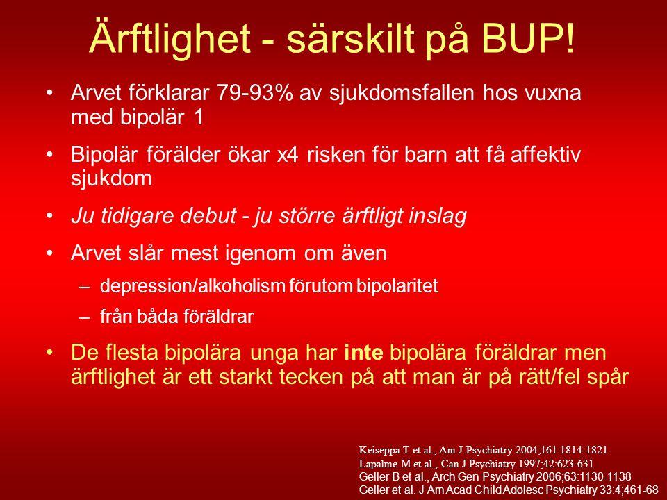 Ärftlighet - särskilt på BUP! •Arvet förklarar 79-93% av sjukdomsfallen hos vuxna med bipolär 1 •Bipolär förälder ökar x4 risken för barn att få affek