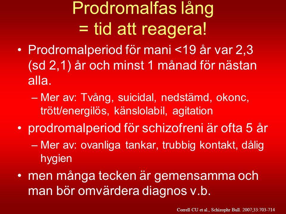 Prodromalfas lång = tid att reagera! •Prodromalperiod för mani <19 år var 2,3 (sd 2,1) år och minst 1 månad för nästan alla. –Mer av: Tvång, suicidal,