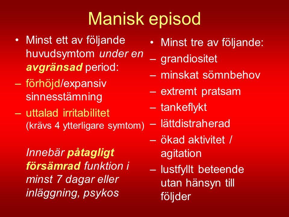 Manisk episod •Minst ett av följande huvudsymtom under en avgränsad period: –förhöjd/expansiv sinnesstämning –uttalad irritabilitet (krävs 4 ytterliga