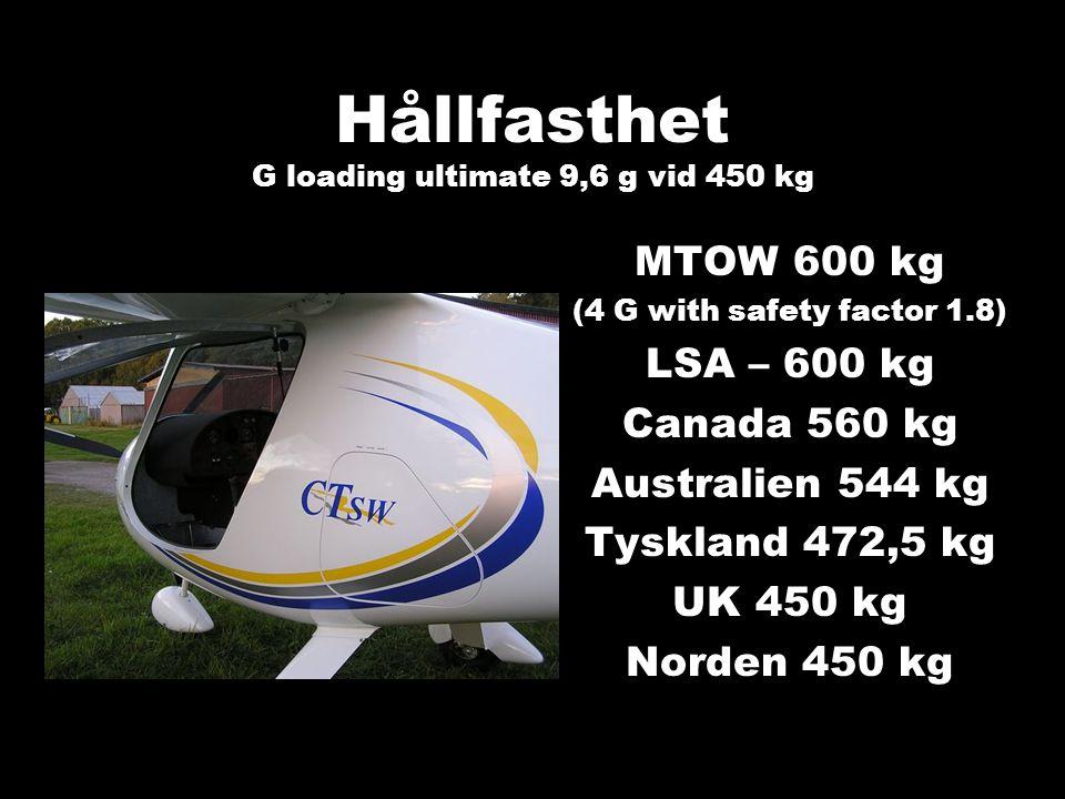 Hållfasthet G loading ultimate 9,6 g vid 450 kg MTOW 600 kg (4 G with safety factor 1.8) LSA – 600 kg Canada 560 kg Australien 544 kg Tyskland 472,5 k