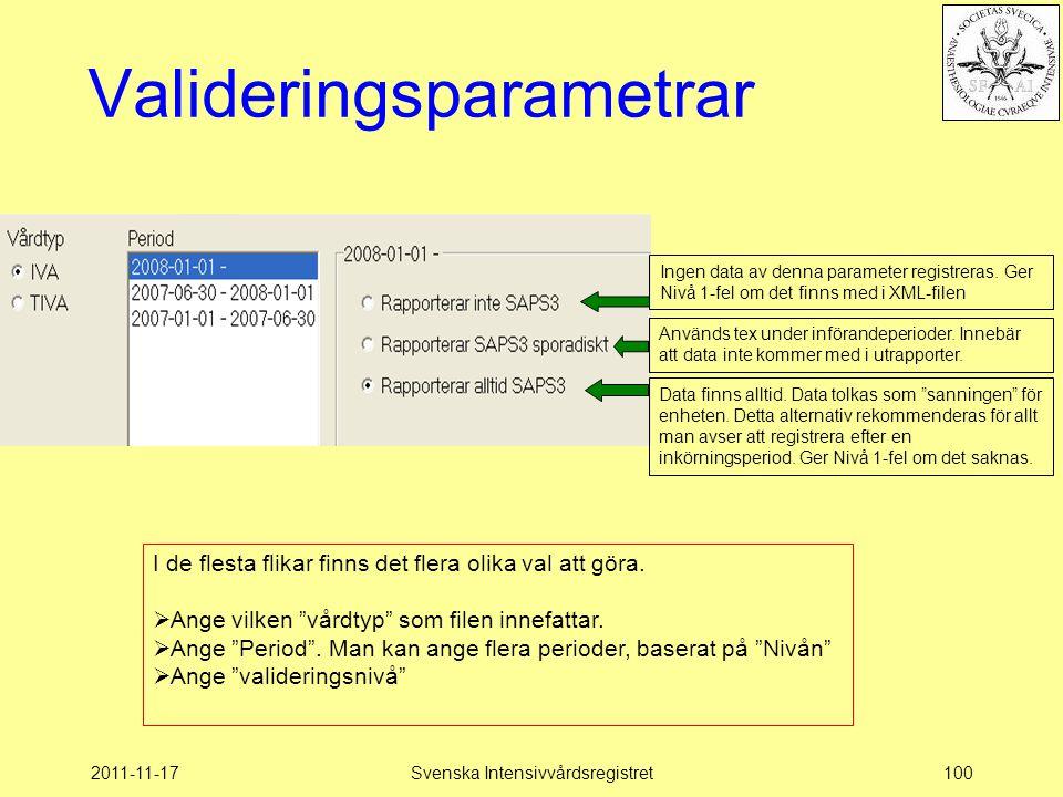 2011-11-17Svenska Intensivvårdsregistret100 Valideringsparametrar Används tex under införandeperioder. Innebär att data inte kommer med i utrapporter.