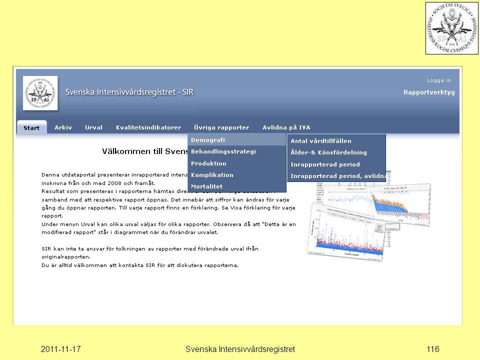 2011-11-17Svenska Intensivvårdsregistret116