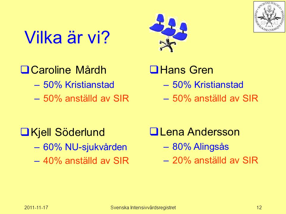 2011-11-17Svenska Intensivvårdsregistret12 Vilka är vi?  Hans Gren –50% Kristianstad –50% anställd av SIR  Caroline Mårdh –50% Kristianstad –50% ans
