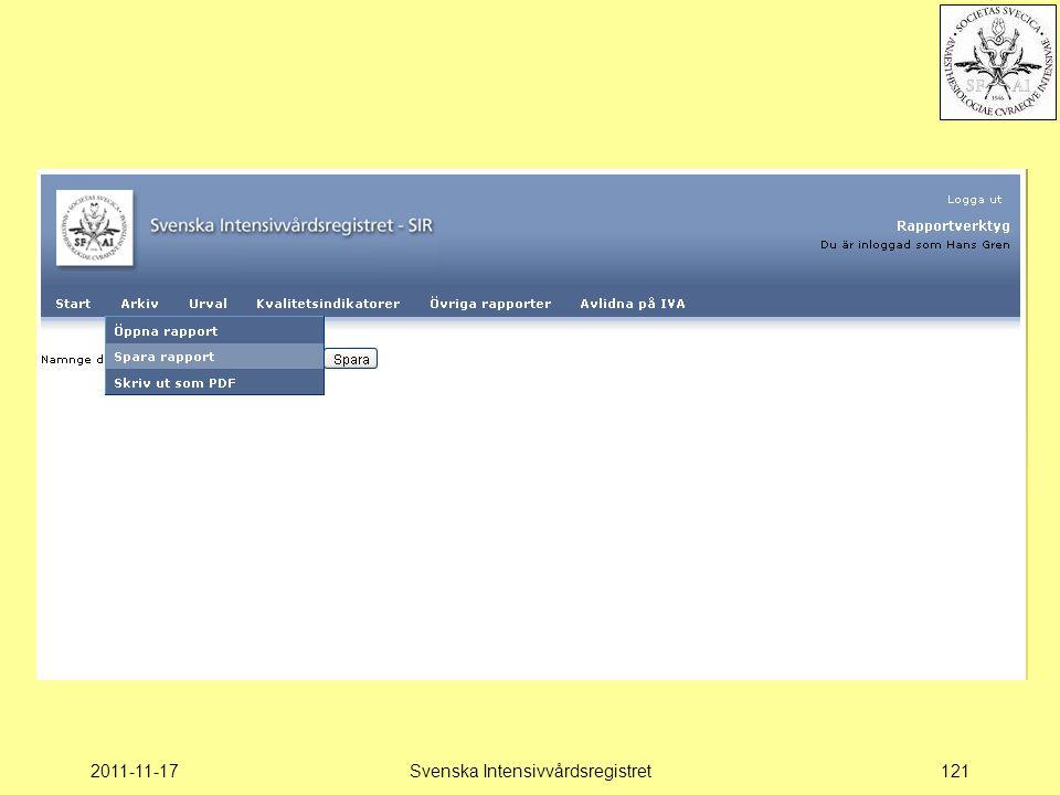 2011-11-17Svenska Intensivvårdsregistret121