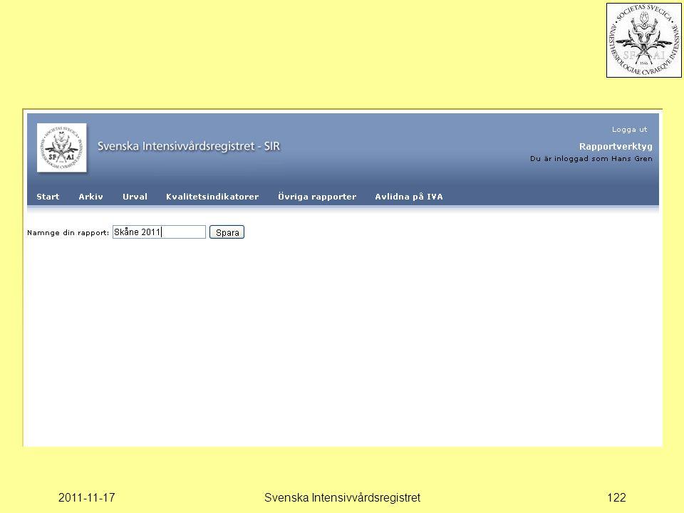 2011-11-17Svenska Intensivvårdsregistret122