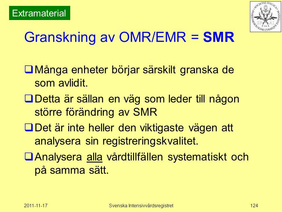 2011-11-17Svenska Intensivvårdsregistret124 Granskning av OMR/EMR = SMR  Många enheter börjar särskilt granska de som avlidit.  Detta är sällan en v