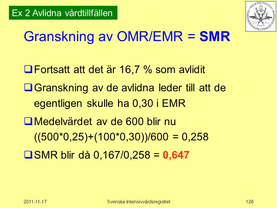 2011-11-17Svenska Intensivvårdsregistret126 Granskning av OMR/EMR = SMR  Fortsatt att det är 16,7 % som avlidit  Granskning av de avlidna leder till att de egentligen skulle ha 0,30 i EMR  Medelvärdet av de 600 blir nu ((500*0,25)+(100*0,30))/600 = 0,258  SMR blir då 0,167/0,258 = 0,647 Ex 2 Avlidna vårdtillfällen