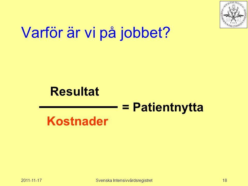 2011-11-17Svenska Intensivvårdsregistret18 Varför är vi på jobbet? Kostnader = Patientnytta Resultat