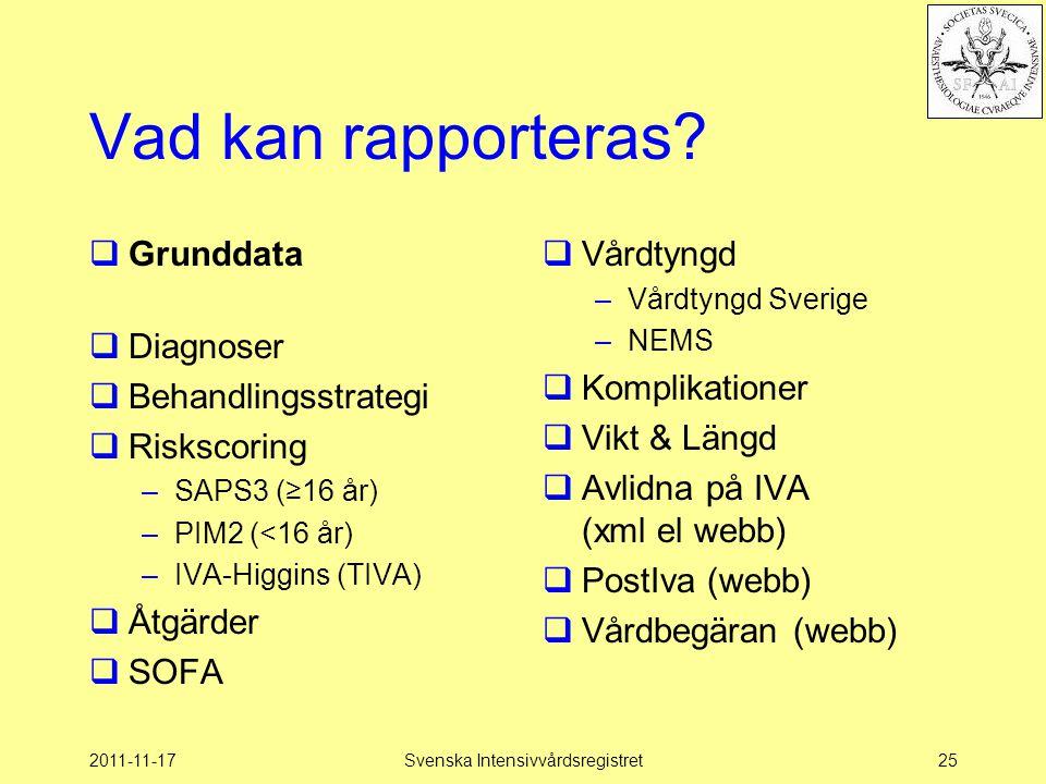 2011-11-17Svenska Intensivvårdsregistret25 Vad kan rapporteras?  Grunddata  Diagnoser  Behandlingsstrategi  Riskscoring –SAPS3 (≥16 år) –PIM2 (<16