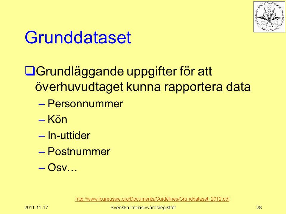 2011-11-17Svenska Intensivvårdsregistret28 Grunddataset  Grundläggande uppgifter för att överhuvudtaget kunna rapportera data –Personnummer –Kön –In-