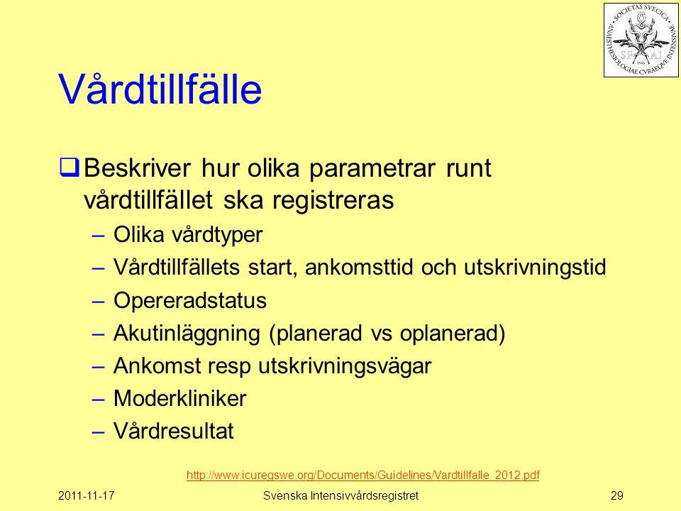 2011-11-17Svenska Intensivvårdsregistret29 Vårdtillfälle  Beskriver hur olika parametrar runt vårdtillfället ska registreras –Olika vårdtyper –Vårdti