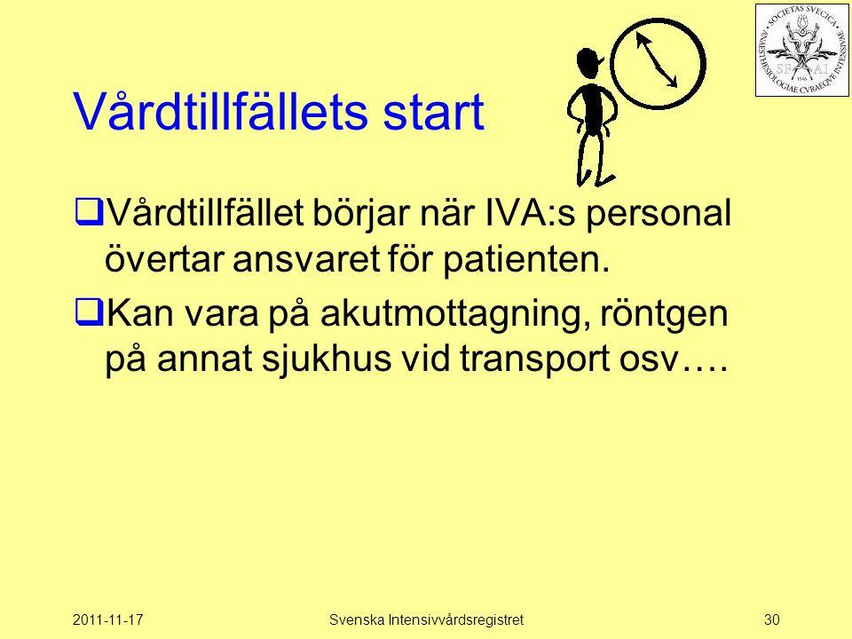 2011-11-17Svenska Intensivvårdsregistret30 Vårdtillfällets start  Vårdtillfället börjar när IVA:s personal övertar ansvaret för patienten.  Kan vara
