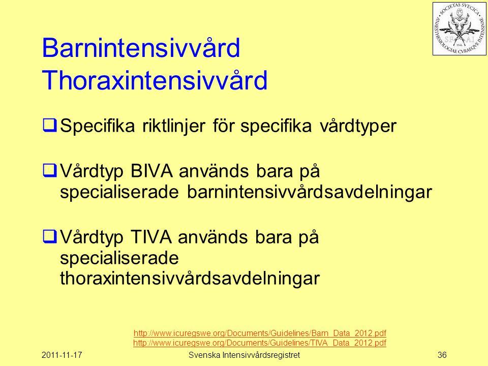 2011-11-17Svenska Intensivvårdsregistret36 Barnintensivvård Thoraxintensivvård  Specifika riktlinjer för specifika vårdtyper  Vårdtyp BIVA används bara på specialiserade barnintensivvårdsavdelningar  Vårdtyp TIVA används bara på specialiserade thoraxintensivvårdsavdelningar http://www.icuregswe.org/Documents/Guidelines/Barn_Data_2012.pdf http://www.icuregswe.org/Documents/Guidelines/TIVA_Data_2012.pdf