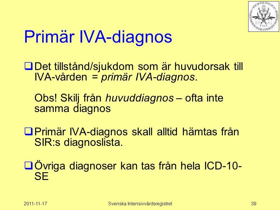 2011-11-17Svenska Intensivvårdsregistret39 Primär IVA-diagnos  Det tillstånd/sjukdom som är huvudorsak till IVA-vården = primär IVA-diagnos.