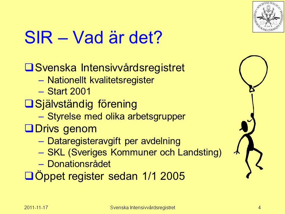 2011-11-17Svenska Intensivvårdsregistret85 Vägen till SIR…  Syfte –ge en möjlighet att på hemmaplan komplettera och korrigera –Anger vilka data man skickar in –Kan vara en hjälp att hitta bristfälliga rutiner för registreringar på hemmaplan.