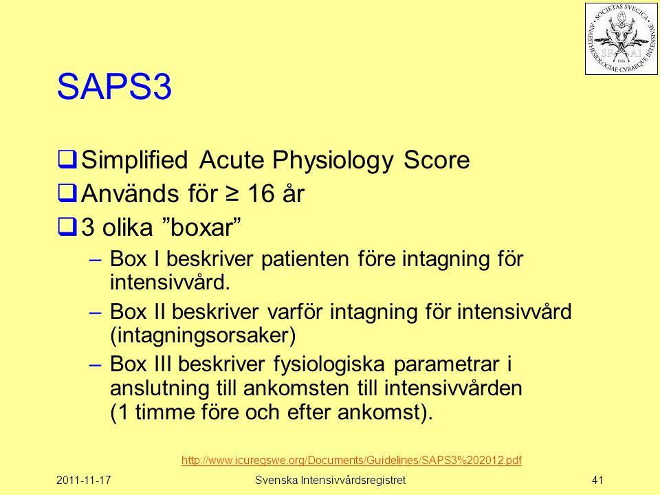 2011-11-17Svenska Intensivvårdsregistret41 SAPS3  Simplified Acute Physiology Score  Används för ≥ 16 år  3 olika boxar –Box I beskriver patienten före intagning för intensivvård.