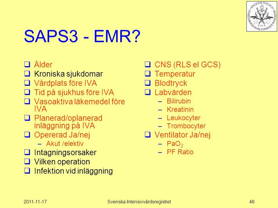 2011-11-17Svenska Intensivvårdsregistret46 SAPS3 - EMR?  Ålder  Kroniska sjukdomar  Vårdplats före IVA  Tid på sjukhus före IVA  Vasoaktiva läkem