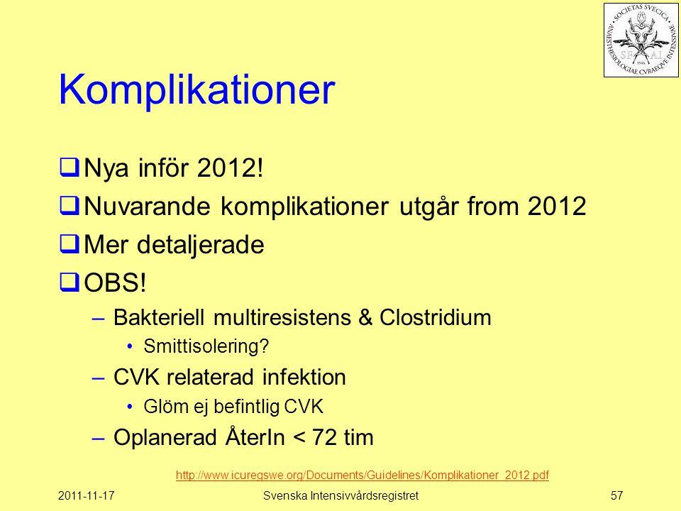 2011-11-17Svenska Intensivvårdsregistret57 Komplikationer  Nya inför 2012!  Nuvarande komplikationer utgår from 2012  Mer detaljerade  OBS! –Bakte