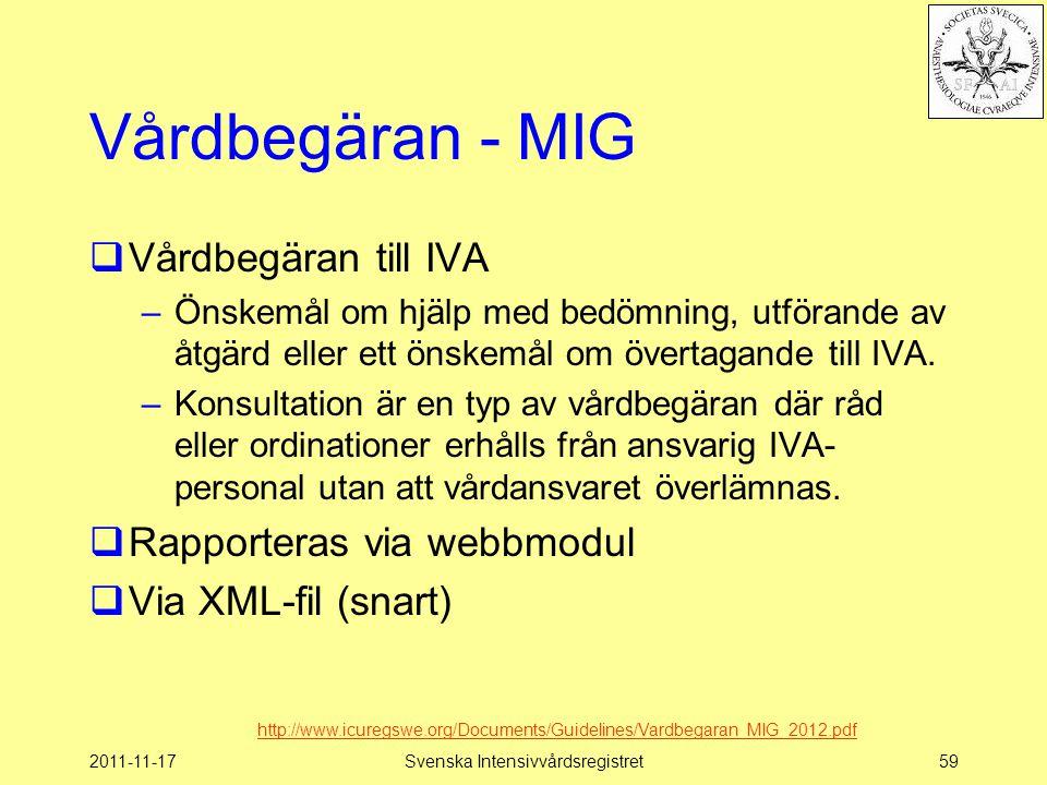 2011-11-17Svenska Intensivvårdsregistret59 Vårdbegäran - MIG  Vårdbegäran till IVA –Önskemål om hjälp med bedömning, utförande av åtgärd eller ett ön
