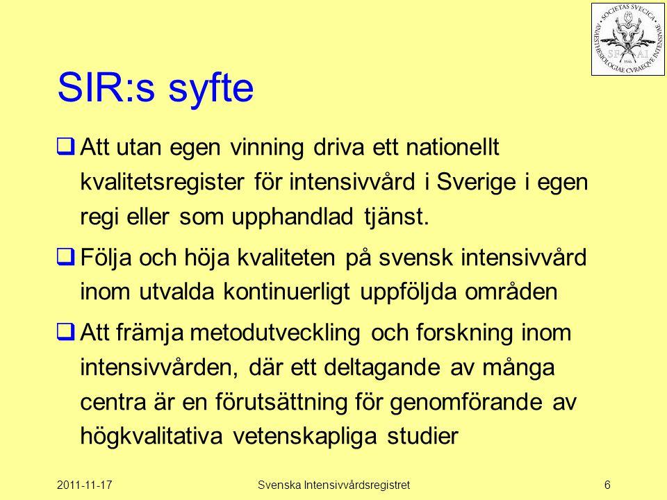 2011-11-17Svenska Intensivvårdsregistret17 Gemensam Målsättning  Bästa –medicinska och –omvårdnadsmässiga resultat  till lägsta –personella och –materiella resurs  för samma –typ och –grad av sjukdom  med lägsta möjliga –komplikation
