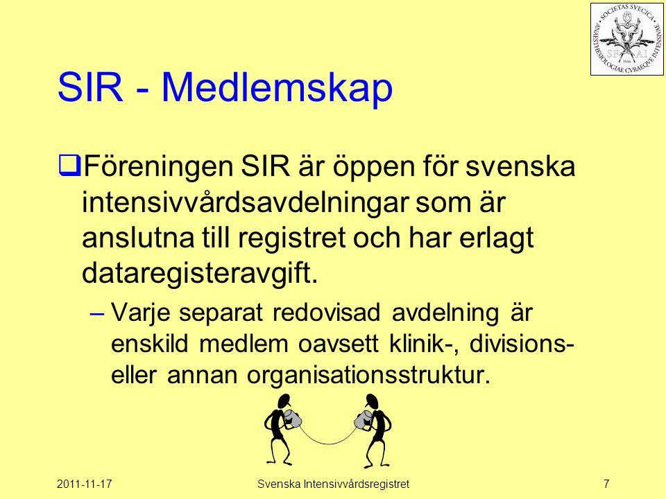 2011-11-17Svenska Intensivvårdsregistret28 Grunddataset  Grundläggande uppgifter för att överhuvudtaget kunna rapportera data –Personnummer –Kön –In-uttider –Postnummer –Osv… http://www.icuregswe.org/Documents/Guidelines/Grunddataset_2012.pdf