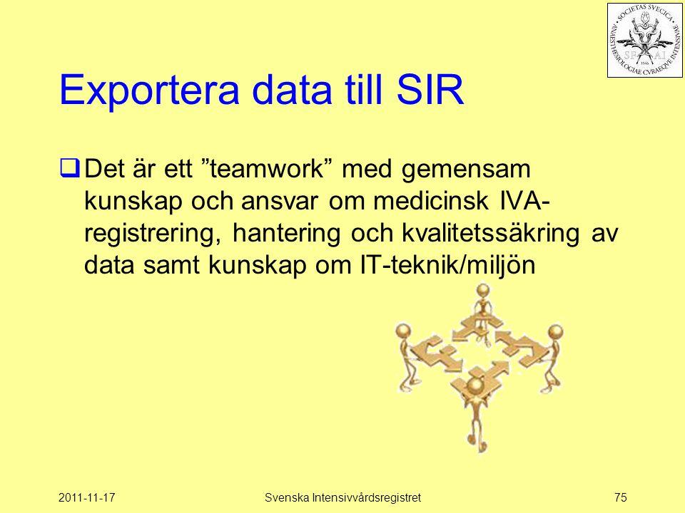 """2011-11-17Svenska Intensivvårdsregistret75 Exportera data till SIR  Det är ett """"teamwork"""" med gemensam kunskap och ansvar om medicinsk IVA- registrer"""