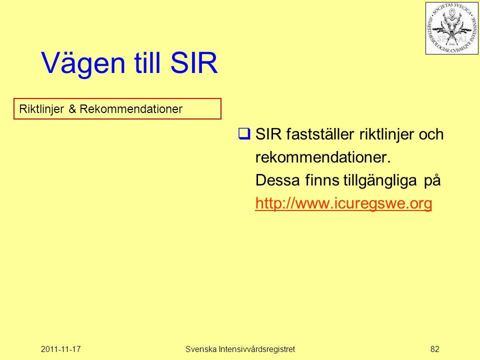 2011-11-17Svenska Intensivvårdsregistret82 Vägen till SIR  SIR fastställer riktlinjer och rekommendationer.