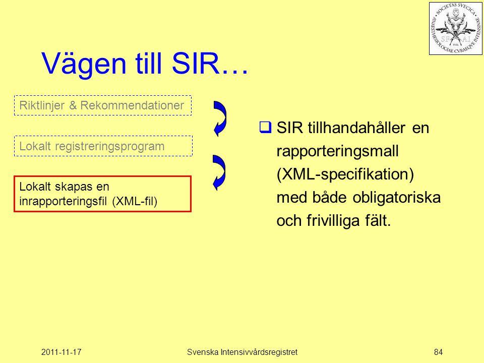 2011-11-17Svenska Intensivvårdsregistret84 Vägen till SIR…  SIR tillhandahåller en rapporteringsmall (XML-specifikation) med både obligatoriska och f