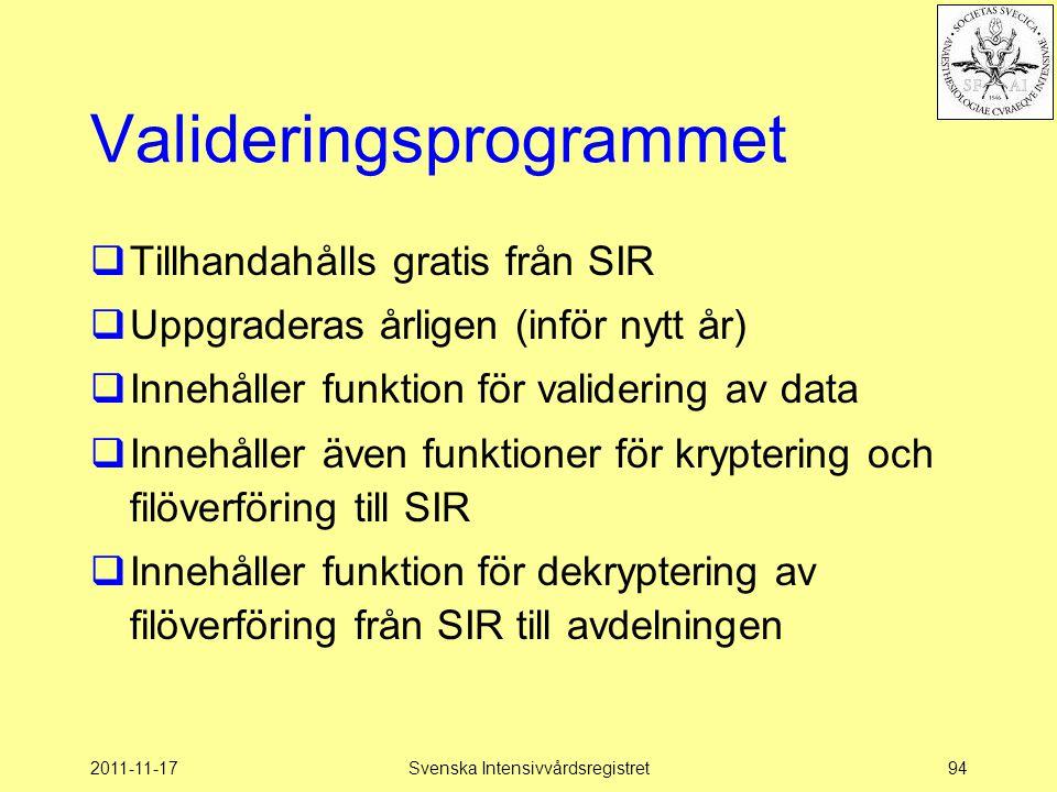 2011-11-17Svenska Intensivvårdsregistret94 Valideringsprogrammet  Tillhandahålls gratis från SIR  Uppgraderas årligen (inför nytt år)  Innehåller f