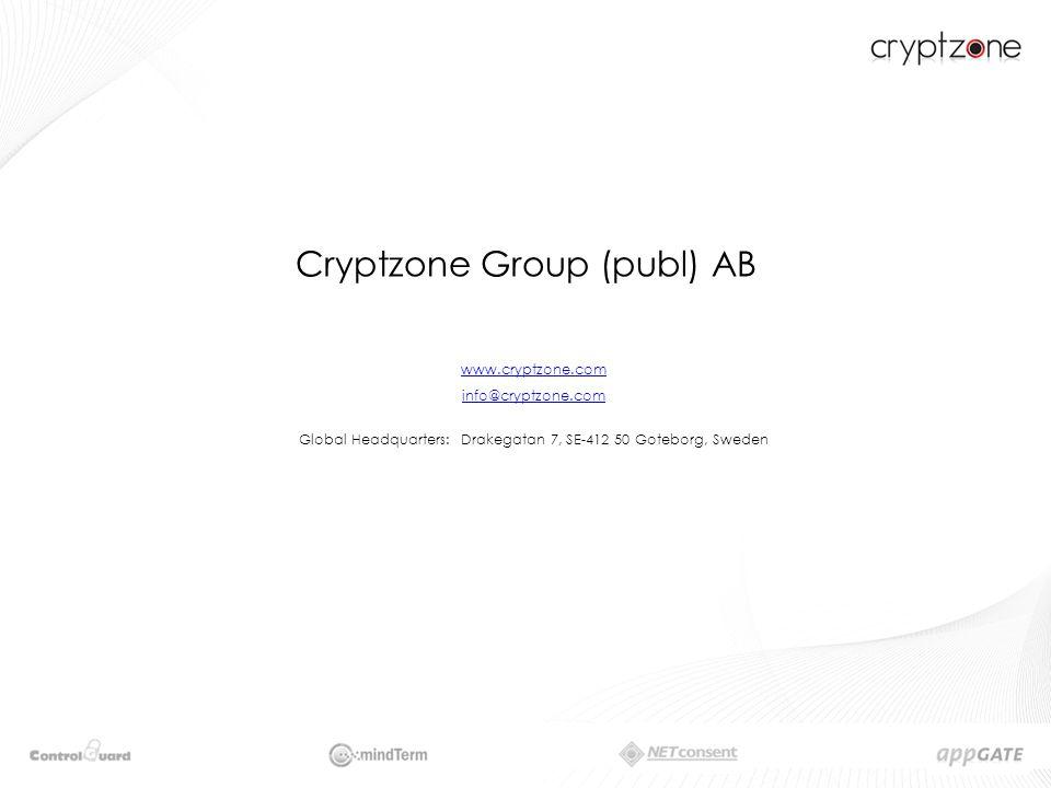 Cryptzone Group (publ) AB www.cryptzone.com info@cryptzone.com Global Headquarters: Drakegatan 7, SE-412 50 Goteborg, Sweden